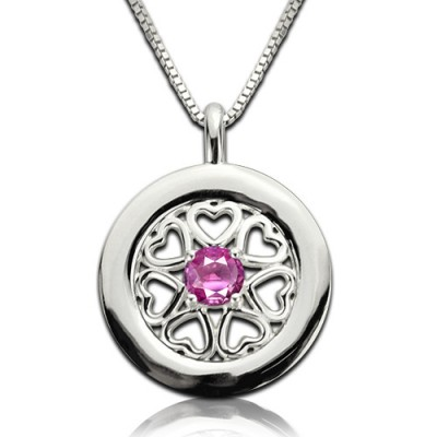 Birthstone Hearts All Around Pendant Necklace Sterling Silver  - Name My Jewellery