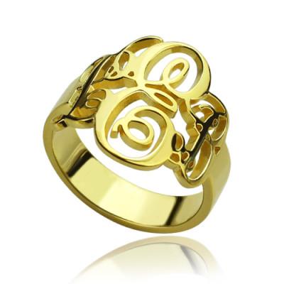 Interlocking Three Initials Monogram Ring 18ct Gold Plated - Name My Jewellery