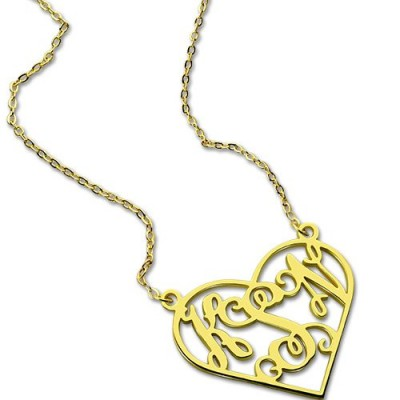 Cut Out Heart Monogram Necklace 18ct Gold Plated - Name My Jewellery
