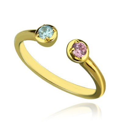 Dual Birthstone Ring 18ct Gold Plated  - Name My Jewellery