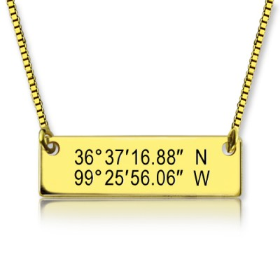 GPS Map Nautical Coordinates Necklace 18ct Gold Plated - Name My Jewellery