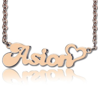 Personalised BANANA Font Heart Shape Name Necklace 18ct Rose Gold Plated - Name My Jewellery