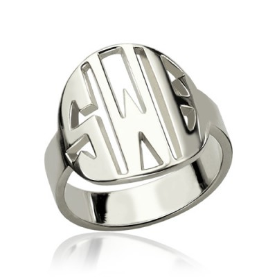 Personalised Cut Out Block Monogram Ring Sterling Silver - Name My Jewellery
