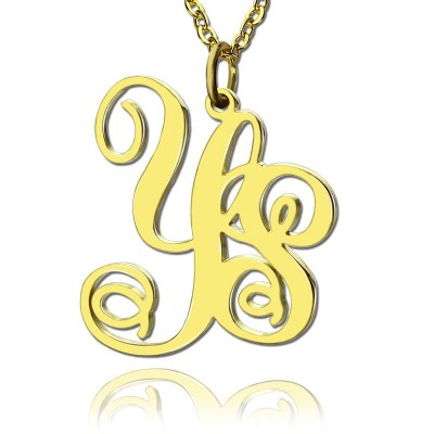 18ct Gold Plated 2 Initial Monogram Necklace - Name My Jewellery