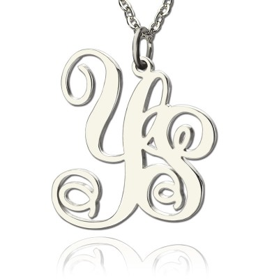 Personalised Solid White Gold Vine Font 2 Initial Monogram Necklace - Name My Jewellery