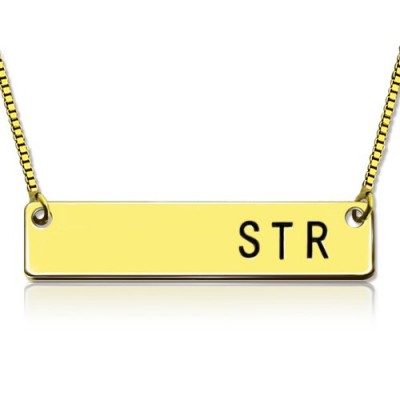 Personalised Initial Bar Necklace 18ct Gold Plated - Name My Jewellery