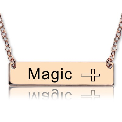 Engraved Name Bar Necklace with Icons 18ct Rose Gold Plated - Name My Jewellery