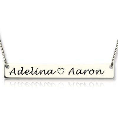 Couple Bar Necklace Engraved Name Sterling Silver - Name My Jewellery