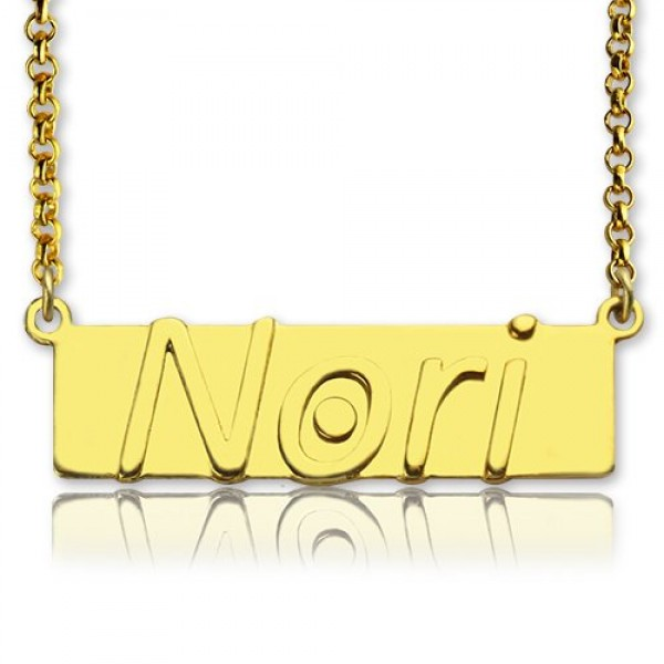 8c61429e3fe47 Custom Nameplate Bar Necklace 18ct Gold Plated - Name My Jewellery
