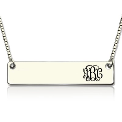 Engraved Monogram Initial Bar Necklace Sterling Silver - Name My Jewellery