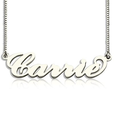Personalised Carrie Name Necklace Silver - Box Chain - Name My Jewellery