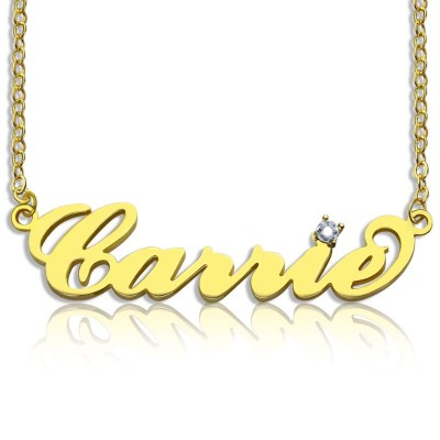 Carrie Nameplate Necklace with Birthstone 18ct Gold Plated  - Name My Jewellery