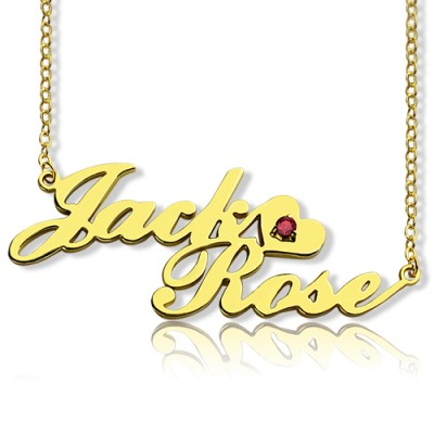 Gold Double Nameplate Necklace Carrie Style - Name My Jewellery