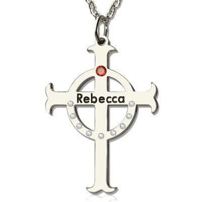Personalised Circle Cross Necklaces with Birthstone  Name Silver  - Name My Jewellery