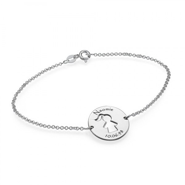 Cut Out Mum Bracelet/Anklet in Sterling Silver - Name My Jewellery