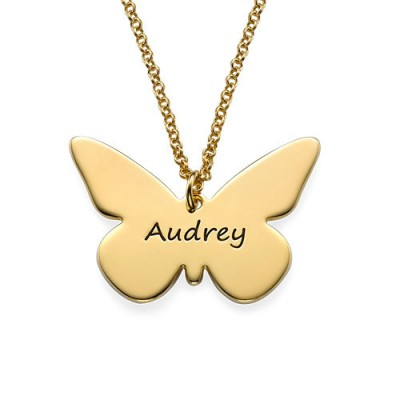 Engraved 18ct Gold Plated Pendant - Butterfly - Name My Jewellery