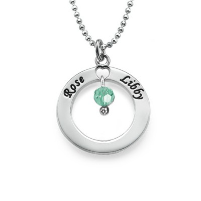 Engraved Classic Circle Necklace with Birthstones  - Name My Jewellery