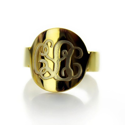 Engraved 18ct Gold Plated Script Monogram Itnitial Ring - Name My Jewellery