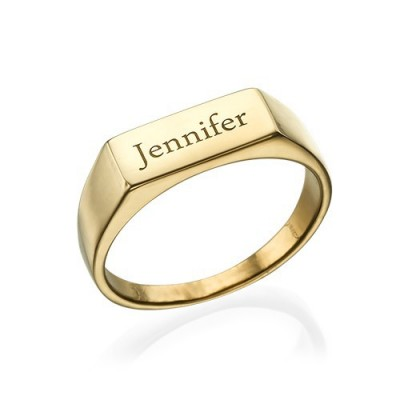 Gold Plated Engraved Signet Ring - Name My Jewellery