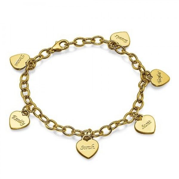 18k Gold Plated Heart Charm Mothers Bracelet/Anklet - Name My Jewellery