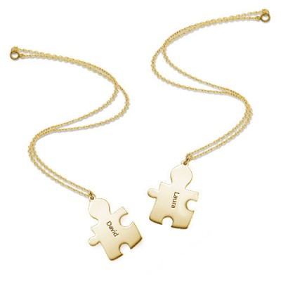 18CT Gold Plated Personalised Couple's Puzzle Necklace - Name My Jewellery