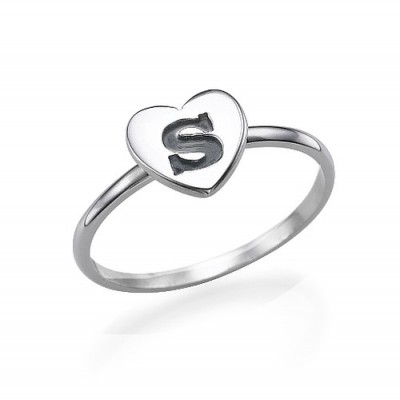 Heart Initial Ring in Sterling Silver - Name My Jewellery