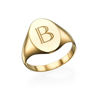 Initial Signet Ring - 18ct Gold Plated - Name My Jewellery