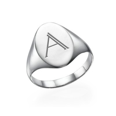 Initial Signet Ring in Sterling Silver - Name My Jewellery