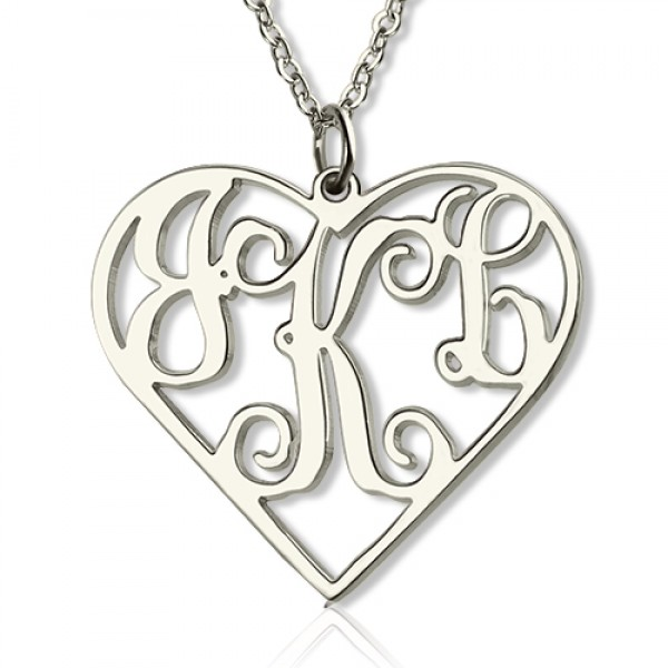 Sterling Silver Cut Out Heart Monogram Necklace - Name My Jewellery