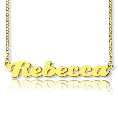 Personalised 18ct Solid Gold Puff Font Name Necklace - Name My Jewellery