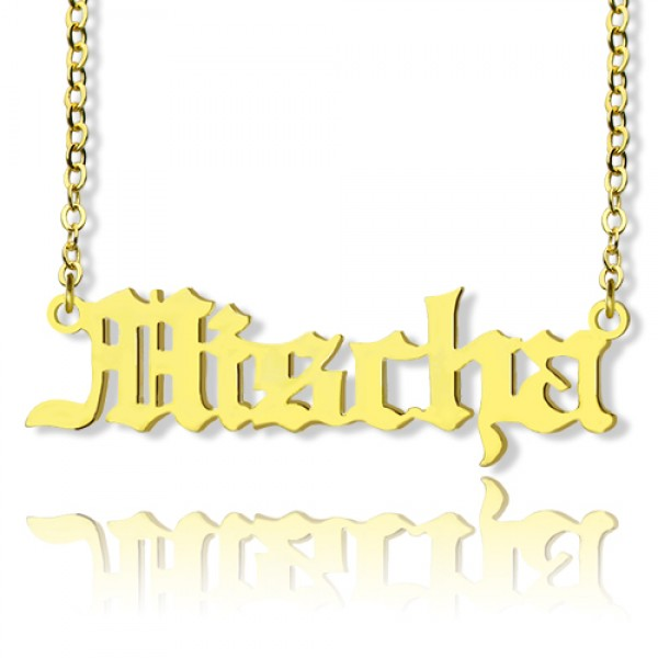 5ba5a08cbc82b Mischa Barton Old English Font Name Necklace 18ct Gold Plated - Name My  Jewellery