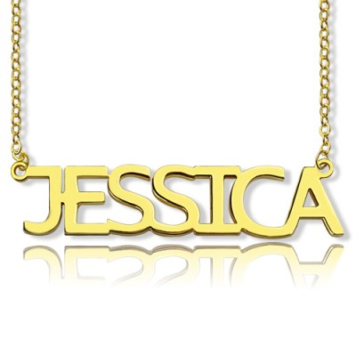 Solid Gold Plated Jessica Style Name Necklace - Name My Jewellery
