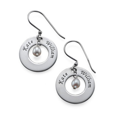 Personalised Earrings with Two Names  Birthstone  - Name My Jewellery
