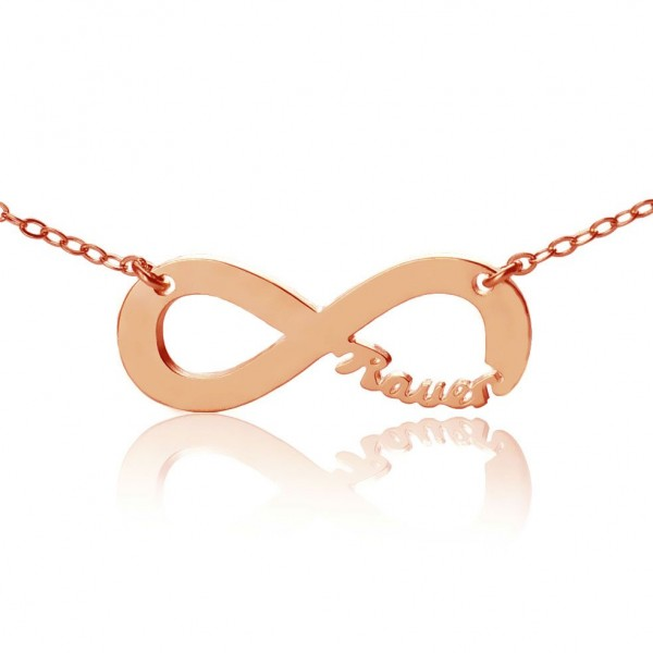 Rose Gold Plated Infinity Necklace Cut Out Name - Name My Jewellery