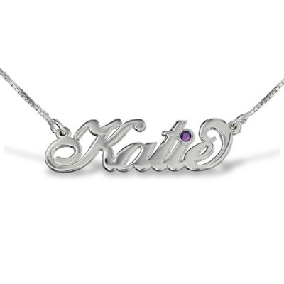 "Silver ""Carrie"" Style Swarovski Name Necklace - Name My Jewellery"