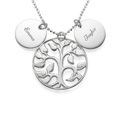 Engraved Disc Cut Out Family Tree Necklace - Name My Jewellery