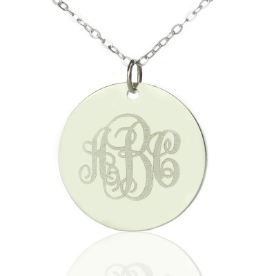 Engraved Disc Monogram Necklace Sterling Silver - Name My Jewellery