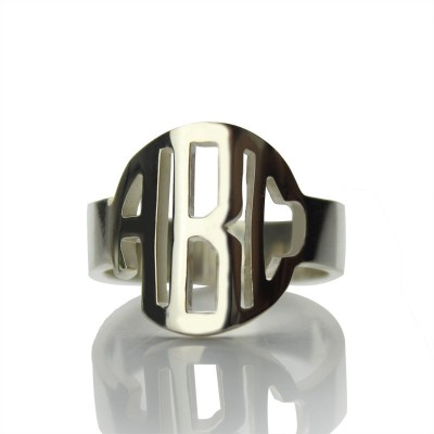 Sterling Silver Block Monogram Ring Gifts - Name My Jewellery
