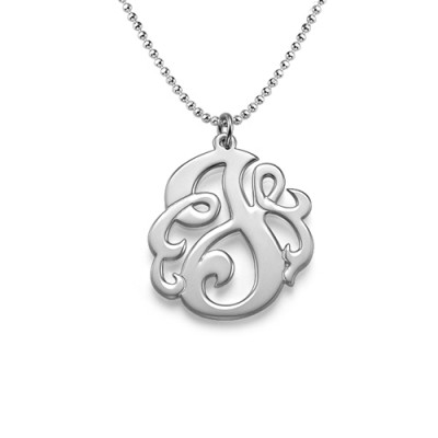Silver Swirly Initial Necklace - Name My Jewellery