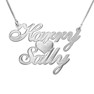 Silver Two Names  Heart Love Necklace - Name My Jewellery
