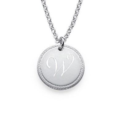 Sterling Silver Circle Initial Necklace - Name My Jewellery