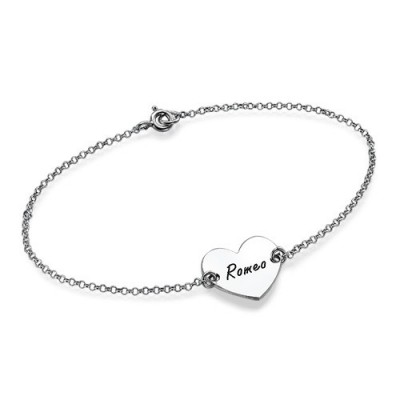 Sterling Silver Engraved Heart Couples Bracelet/Anklet - Name My Jewellery