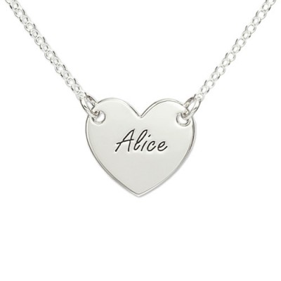 Sterling Silver Engraved Heart Necklace - Name My Jewellery