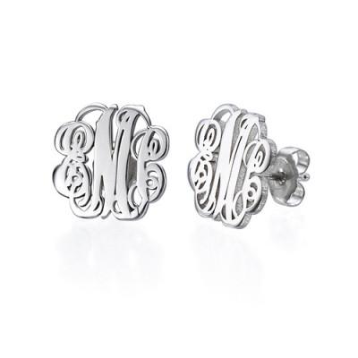 Sterling Silver Monogram Stud Earrings - Name My Jewellery