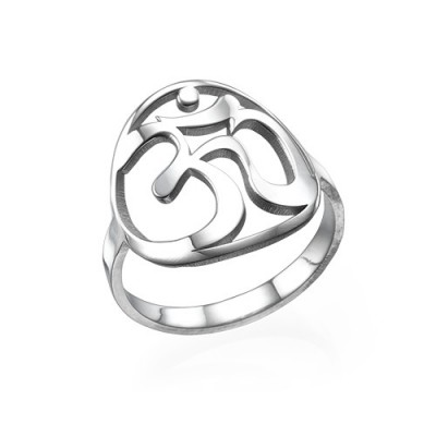 Sterling Silver Om Ring - Name My Jewellery