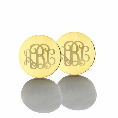 Circle Monogram 3 Initial Earrings Name Earrings 18ct Gold Plated - Name My Jewellery
