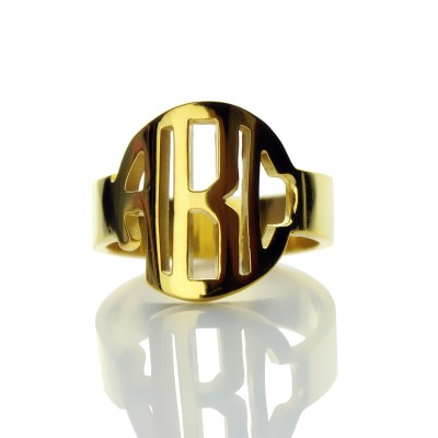 Personalised Circle Block Monogram 3 Initials Ring Solid Gold Ring - Name My Jewellery