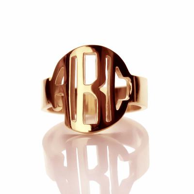 Personalised Circle Block Monogram 3 Initials Ring Solid Rose Gold Ring - Name My Jewellery
