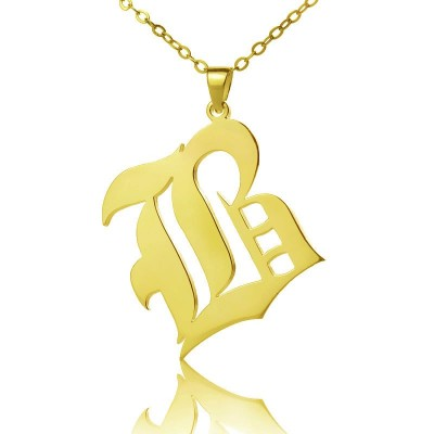 Solid 18ct Gold Plated Old English Style Single Initial Name Necklace - Name My Jewellery