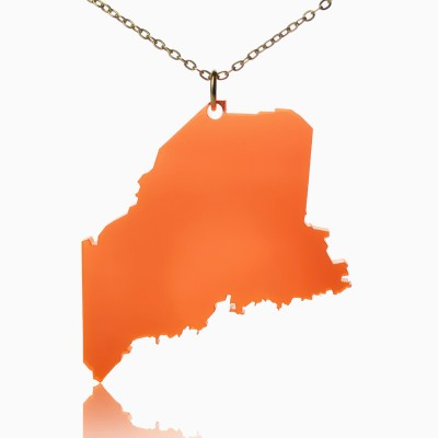 Acrylic Maine State Necklace America Map Necklace - Name My Jewellery